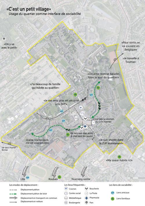Exemple de carte subjective du quartier de la Bourgogne à Tourcoing